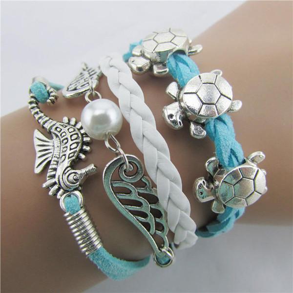 Fatpig 1Piece Wings Bracelets Woven Leather Angel Wings Tortoise Seahorse Bracelet for Women Girls