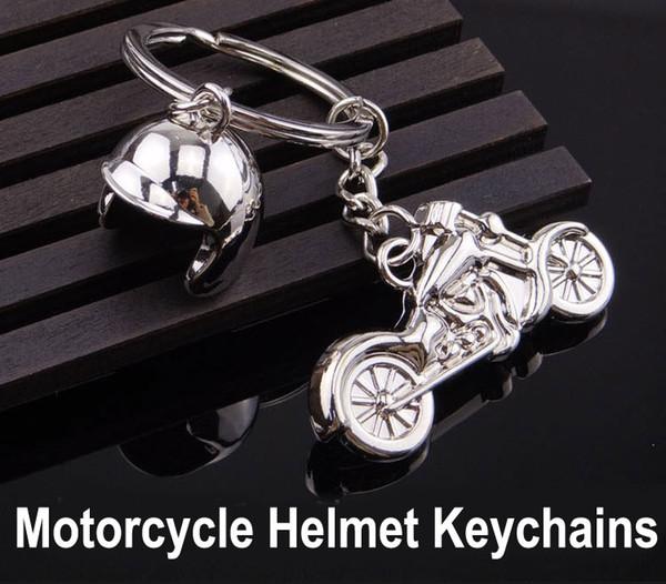 2018 Men Keychain Helmet & Motorcycle Key Holder 3D Key Rings Keyfob for Men Creative Gift Key Chains Support FBA Drop Shipping G660Q