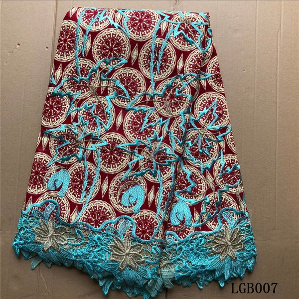 Elegant design african wax blue red guipure lace fabric high quality ankara print embroidered wax lace fabric for lady dress