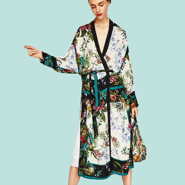 [CHENS SISTER] 2018 New Autumn New Long Print Floral Kimono Coat Ladies Print Shawl Cardigan Coat Long Sleeve Ladies Thin