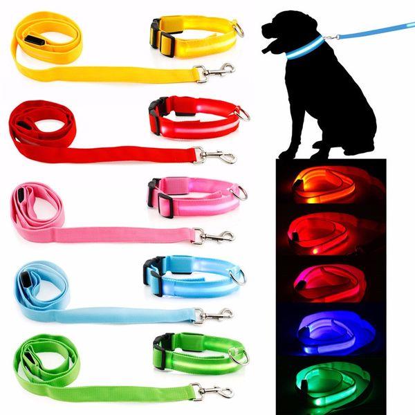 Pet Köpek Yaka Aydınlık Köpekler tasma Aydınlık Yanıp Sönen Led Işık Koşum Naylon Güvenlik Tasma Halat pet malzemeleri küçük köpek yavrusu için c412