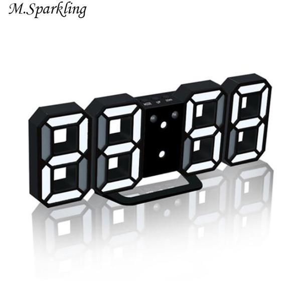 M.Sparkling Luminova Clock Desk LED Digital Alarm Clocks Electronic Desk Clock 24/12 Hours Display Night Light Home Table Clocks