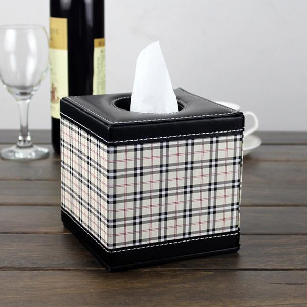 Servilleta de mesa de cuero de la caja de la caja de lujo que bombea el tejido de la caja de papel