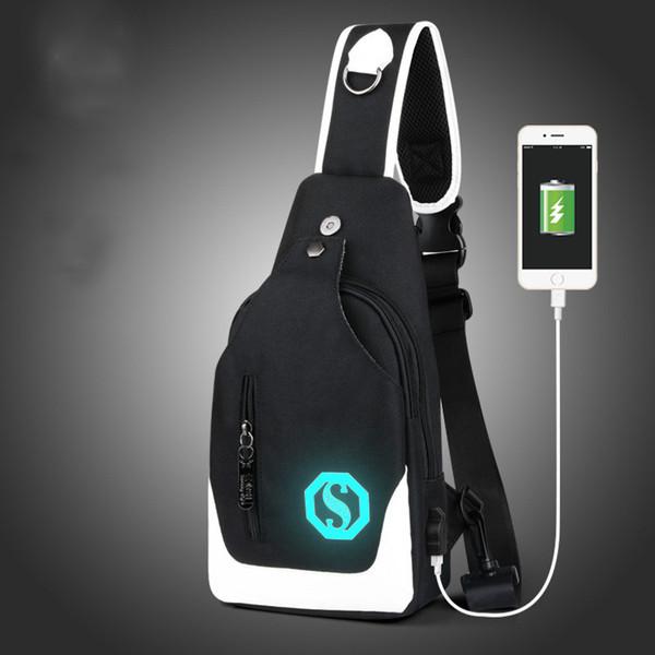 2018 Moda USB de Carregamento Chest Pack Homens Ao Ar Livre Saco de Ombro Dos Homens de Esportes USB Peito Saco de Viagem Casuais Frete Grátis