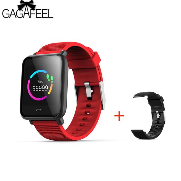GAGAFEEL Q9 Smartwatch Android IOS Kalp Hızı Monitörü Için Su Geçirmez Kan Basıncı Ile Akıllı İzle Ek Kayış