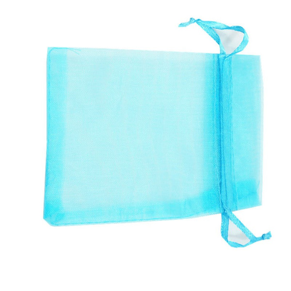 Hot Sales ! 100pcs SKY BLUE Drawstring Organza Gift Bags 7x9cm 9x12cm 10x15cm Wedding Party Christmas Favor jewelry Bags