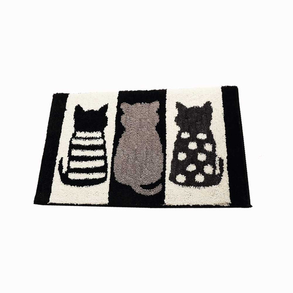 Cute 3 Cats Door Mats Bathroom Mats Non-slip Absorbent Kitchen Rug Machine Washable Rug - Black and White