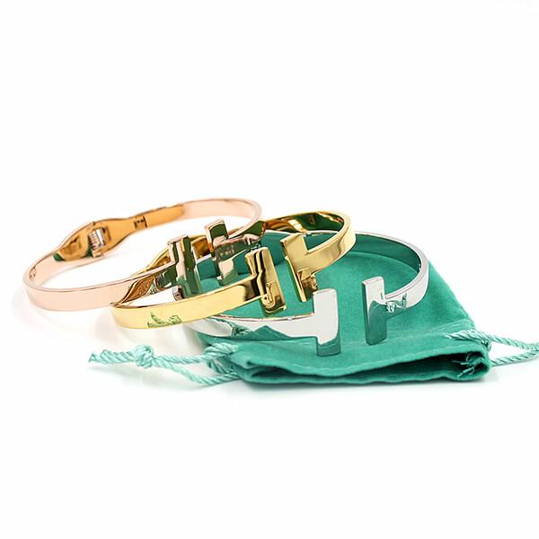 Luxo Cuff Bangle Carta Abertura Amor Pulseiras Pulseiras de Aço Inoxidável Duplo T Pulseiras Para As Mulheres projeto