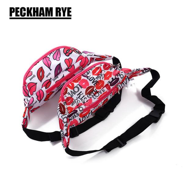 NEW ARRIVAL FASHION red lips design waterproof waist bags for women 2 zipper pockets fanny packs travel waist packs belt bag