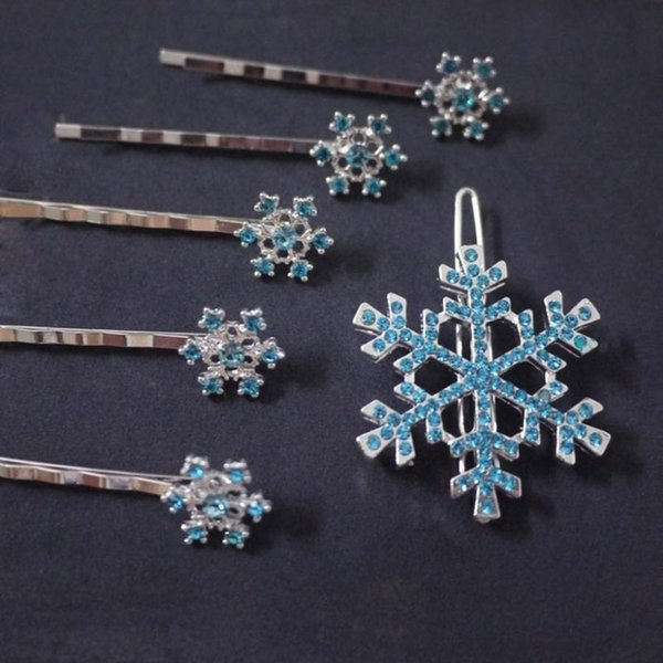 6 pcs/set Fashion Girls Hair Clips Princess Crystal Snowflake Hairpin Kids Hair Clip Fashion Jewelry Birthday Gift Hot Sale