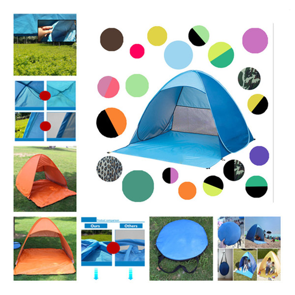 best selling Simple Tents Quick Automatic Opening Outdoors Tents Camping Shelters for 2-3 People UV Protection Tent for Beach Travel Lawn 36 Design