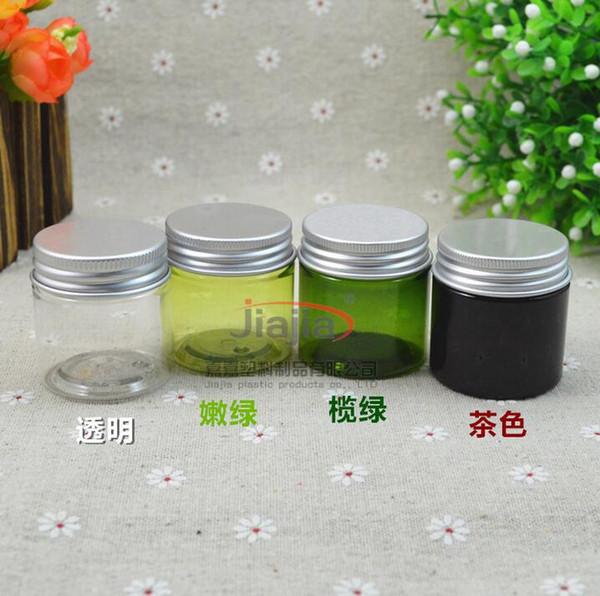 30 g braunes / grünes / klares / hellgrünes PET-Glas, 30 ml Plastikglas mit silbernem Aluminiumdeckel Kosmetischer Körperpflegebehälter