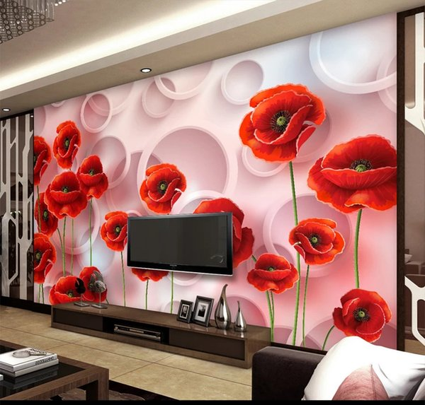 Admirable Custom Retail Fashion 3D Floral Living Room Tv Background Wall Paper Mural Dreamy White Circle Red Flowers Mural Hd Wallpaper A Hd Wallpaper Gmtry Best Dining Table And Chair Ideas Images Gmtryco
