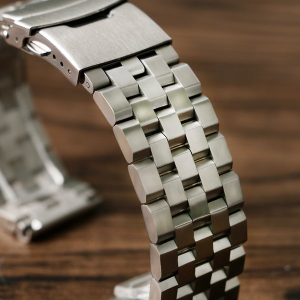 HQ 20mm 22mm Silver/Black Solid Stainless Steel Watch Band Strap Folding Clasp with Safety Link For Men Women Watch Replacement