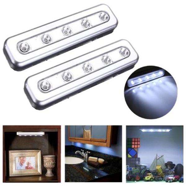 2PCS 5LED Cabinet Closet Wardrobe Push Tap Touch Night Light Lamp Stick On Battery Power Bright