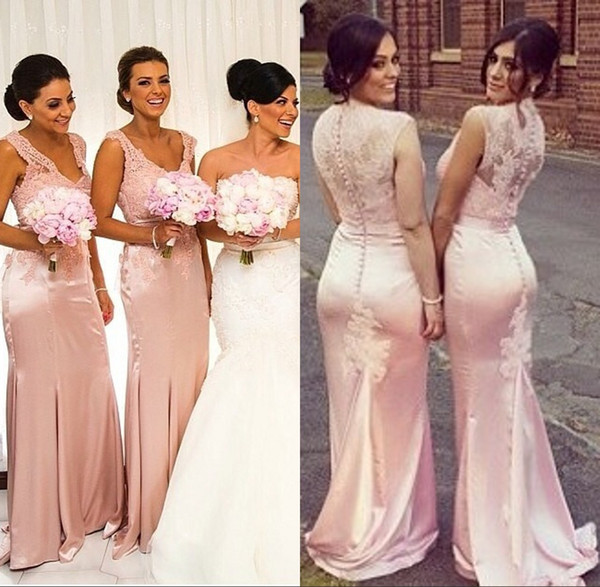 coral bridesmaid dresses V-Neck Tank Sleeveless Empire Mermaid Satin vestido de festa lace bridesmaid dresses para casamento
