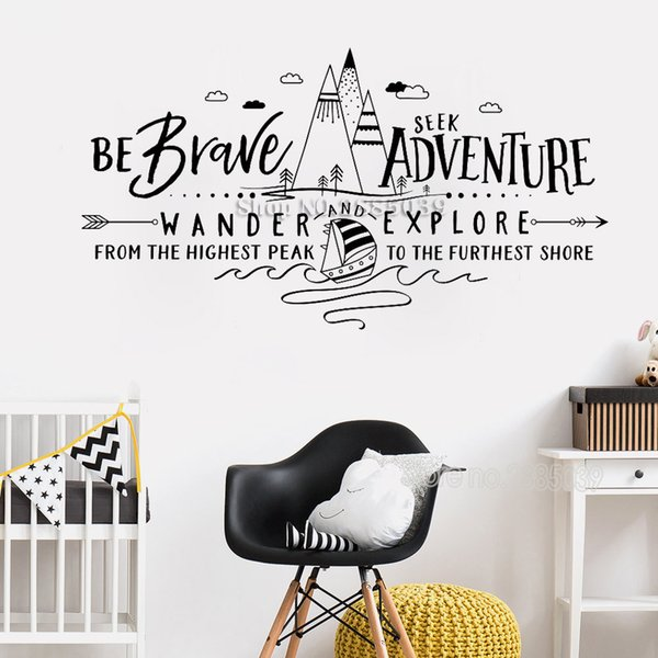 Mountains Quotes Wall Stickers Be Brave Seek Adventure Wander And Explore  Wall Decal Adventure Nursery Decal Quote Bedroom LC482 Decorative Wall ...