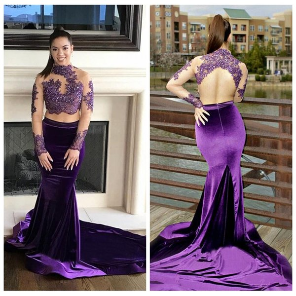 Purple Two Pieces Mermaid Prom Dresses 2018 African Beading Illusion Lace Appliques Long Sleeves High Neck Sexy Backless Evening Party Gowns