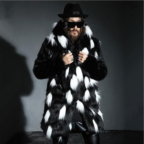 S-4XL Kış Erkek Kürk Palto Erkek Kürk Palto Hood ile Parka erkek Hoodies Palto Adam Sıcak Faux Ceket Elbise Boy