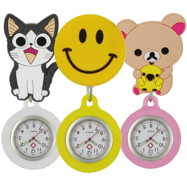 Wholesale fashion lovely 3D cartoon animal smile shape nurse FOB pocket watches ladies women doctor scalable soft rubber watches