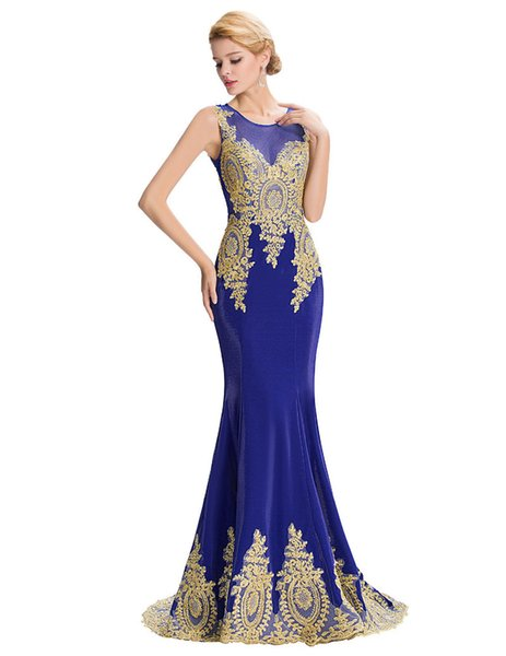 2018 In Stock Jewel Mermaid Formal Evening Dresses Sheath Bodice with Hollow Appliqued Beading Prom Gown