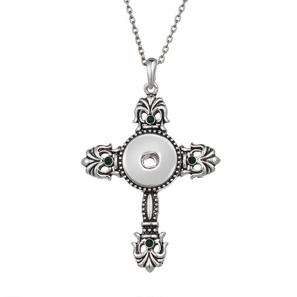 10 Pcs de Cristal Cruz 18mm Snap Colares Mulher colares Do Vintage pingentes femininos DIY jóias Colar Cruz