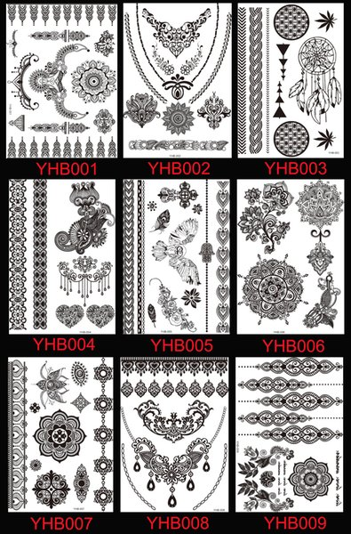 27 Styles Sexy Lace Black Henna Temporary Tattoo Sticker Women Hand Jewelry Tatoo Paste Waterproof Fake Body Art Tattoo Stickers
