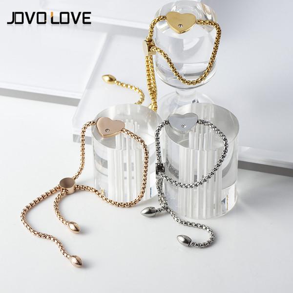 New Style Stainless Steel Flower Adjustable Bracelet Female Feather Rose Gold Color CZ Heart Charm Bangle Bracelets for Women