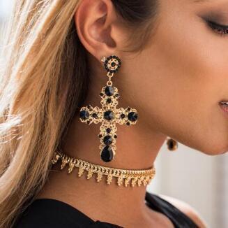 free shipping European and American fashion jewelry Korean fashion pop star temperament cross set diamond jewelry earrings fashionable perso