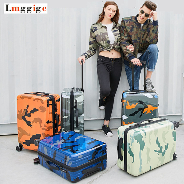 Spinner Rolling Luggage Suitcase Bag,Colorful Travel Trolley Case,Women PC+ABS Carry-On,Men Fashion Multiwheel Box with Lock