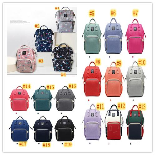 19 colors Multifunctional Diaper Backpack Unicorn Multi-color Baby Mummy Backpack Nappy Mother Maternity Backpacks Oxford Cloth MMA184