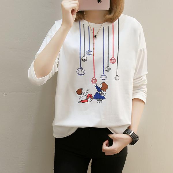 Autumn Tops For Women Blouses 2018 Long Sleeve Render Harajuku t shirt Plus Size t shirt women Female T-shirt