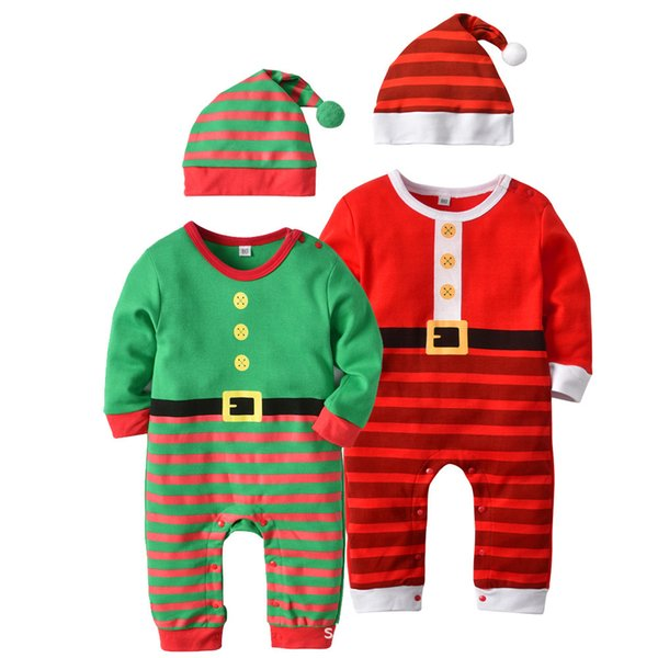 Baby Unisex Romper Newborn Christmas Clothing Suits Cute Long Sleeve Body Suit With Hat Striped Jumpsuit Overalls Costumes