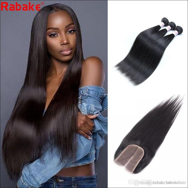 Raw Indian Human Hair Bundles with 4x4 Top Lace Weaves Closure Rabake Remy Silky Straight Cuticle Aligned Human Hair Weave Extensions Bulk