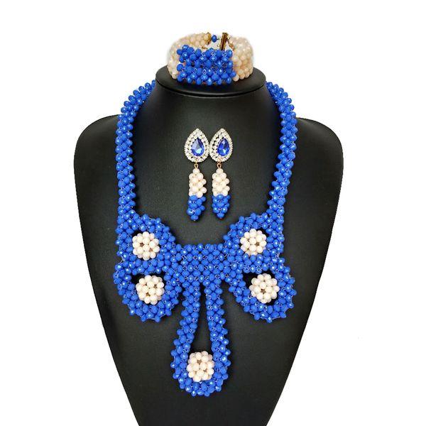 Promozione Blue White Owl Style Nigeriano Collana di cristallo di cerimonia nuziale Insieme dei monili dei branelli africani per il costume nuziale delle donne dell'India in rilievo