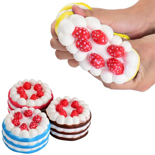 12cm Cheap Kawaii Strawberry Cake Squishy Slow Rising Cream Cake Mango Yellow Rosy Blue Kids New Year Toy Gift