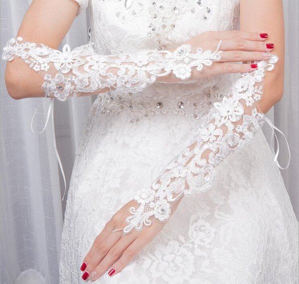 New Arrival Wedding Accessories Long Beading Elbow Length Bridal Gloves Appliques Lace Fingerless Wedding Gloves