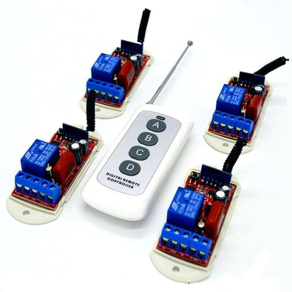 4 pcs 433 Mhz Interruptor de Luz Módulo Receptor de Controle Remoto 10A 110 V 220 V e 1 pcs de Longo Alcance RF 433.92 Mhz Remoto Controles