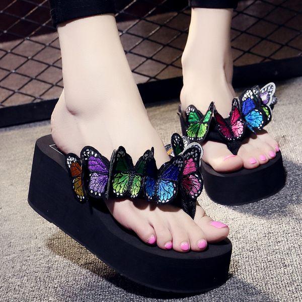 6CM Handmade butterfly Women Flip Flops Wedges High Heels 6CM Outside Fashion Women Slippers Beach S