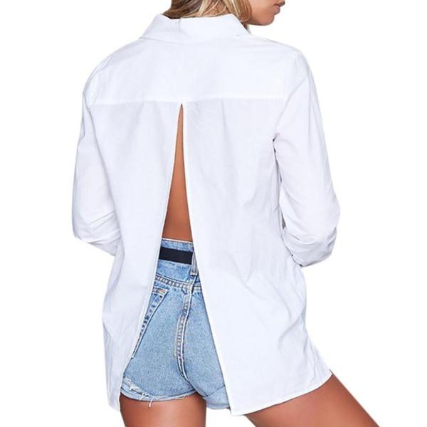 Blusa Mujer Primavera Manga Larga Sexy Volver Volver Backless Vintage Tops camisas blancas azules Bajar el botón del cuello BL044