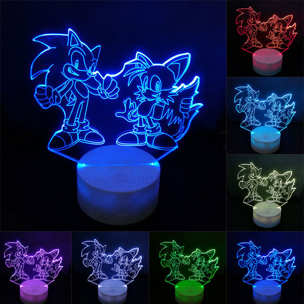 Sonic Action Figure Lampada da tavolo 3D LED che cambia anime The Hedgehog Sonic Miles Model Toy Lighting Novità Night Light