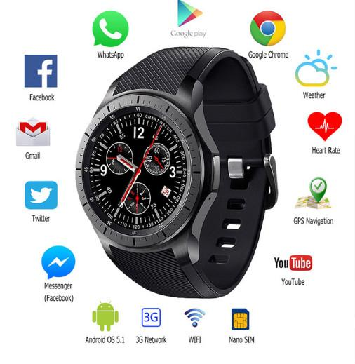 "DM368 3G Smart Watch Phone Android OS 5.1 MTK6580 1.39"" AMOLED Display GPS 8G ROM Heart Rate Google Play/Map WIFI Smartwatch"