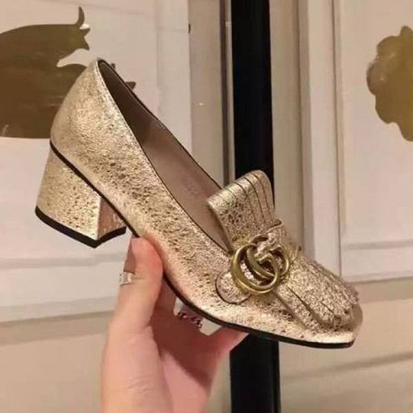 High heel Gold Tassel Fringe Monk Dress Shoes Leather Pumps High chunky heel Fashion Hot Womens Evening Party Pumps