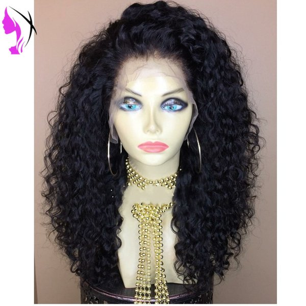 long loose curly Glueless Heat Resistant Synthetic Lace Front Wig With Baby Hair Free Part Kinky Curly Wigs For Black Women