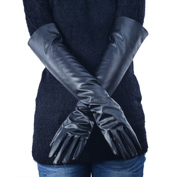 WEIXINBUY New Women's Faux Leather Elbow Gloves Winter Long Gloves Warm Lined Finger Y8 CQ4