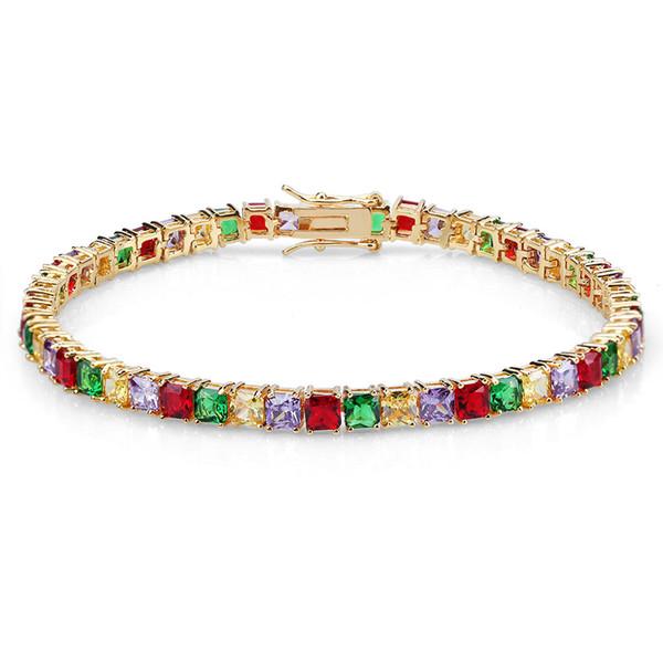 Personnalités européennes et américaines Bracelet de zircons de couleur Hip-Hop Ornements avec bracelet de zircons carrés de quatre couleurs