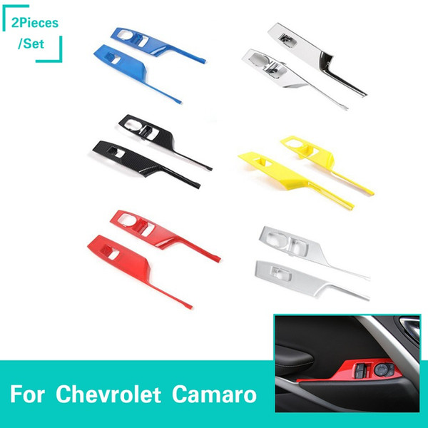 Car Door Window Lift Button Armrest Switch Panel Cover Trim ABS Decoration Strip For Chevrolet Camaro 2017+ Auto Interior Accessories