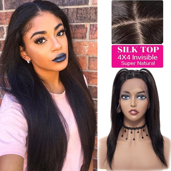 top popular Lace Front Wigs Adjustable Pre Plucked Silk Base Lace Frontal Human Hair Wigs Glueless Wigs For Black Women Wholesale 2019