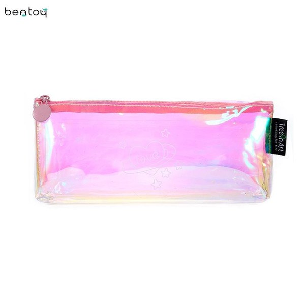 Korean comestic makeup brush bag pvc hologram make up storage bag pouch cartoon cat milk rainbow stationery pencil case coin