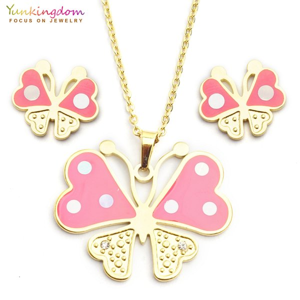 Yunkingdom pink heart butterfly jewelry sets for women stainless steel pendant necklace earring sets parure bijoux femme